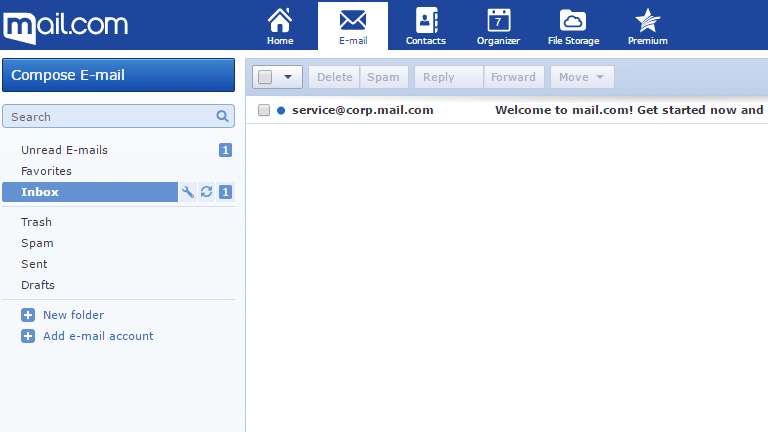 Screenshot of the Mail.com inbox