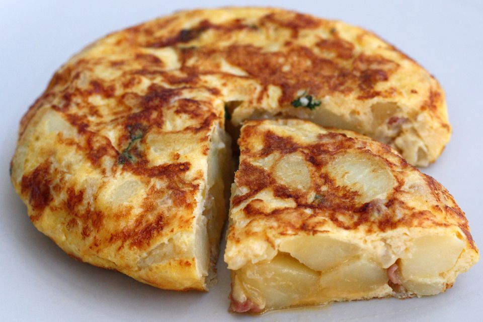 Spanish omelet recipe with ham and mint.