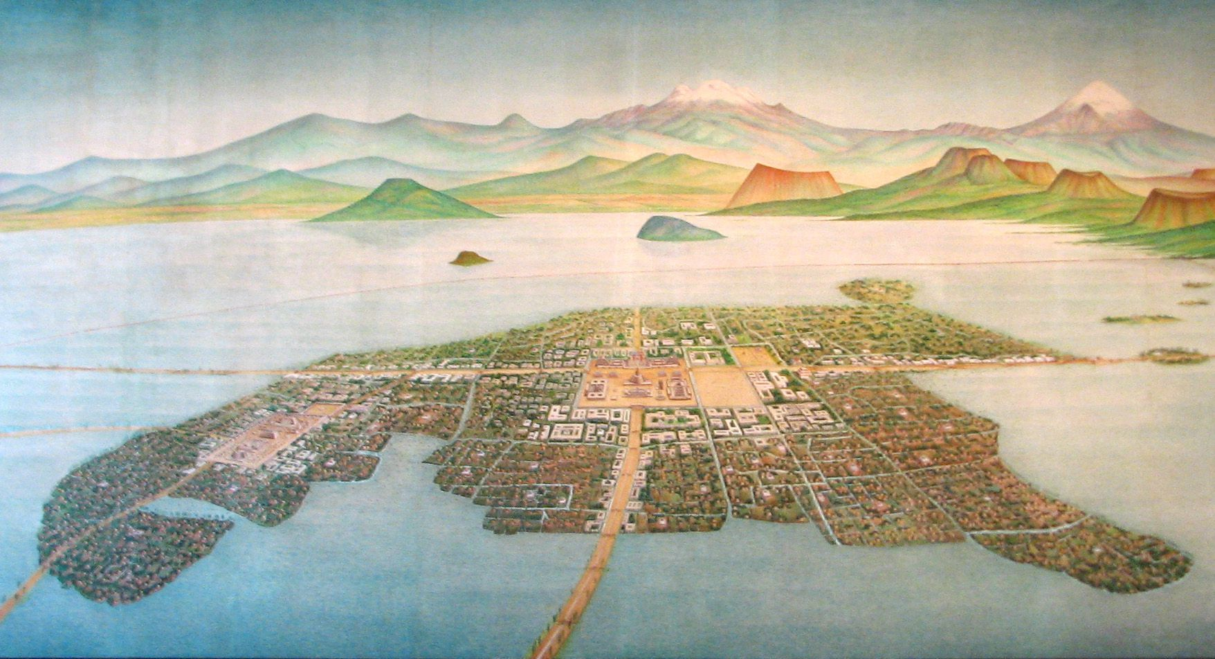 The flag of the united states of mexico birds eye view of tenochtitlan in 1519 reconstruction national museum of anthropology of mexico buycottarizona