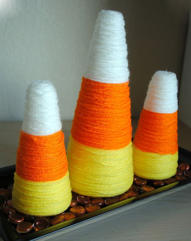 Yarn Wrapped Candy Corn Decorations