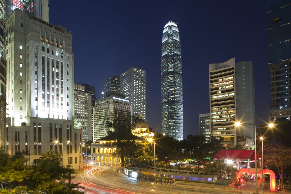 2 International Finance Centre at dusk