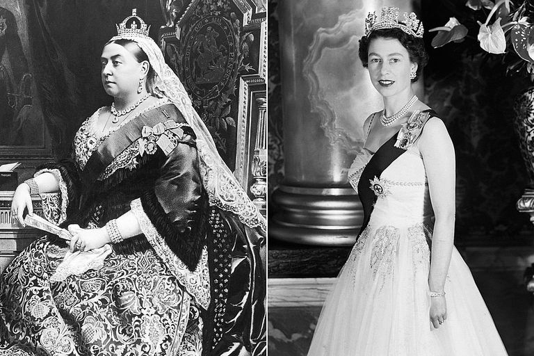 Queen Victoria and Queen Elizabeth II