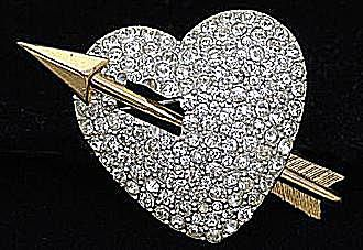 Pavé Set Rhinestone Heart Pin, Ca. 1940s