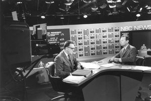 A picture of David Brinkley and Chet Huntley anchoring the Presidential Election coverage in 1968.