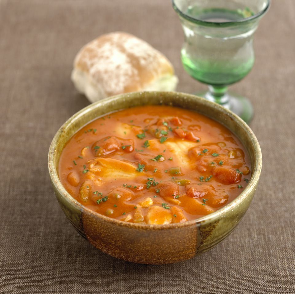 Creole fish stew, close up