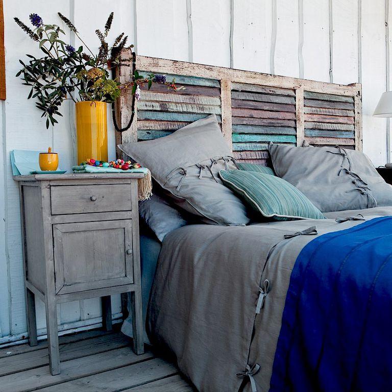 cabecero de cama de madera con listones en horizontal - Como Hacer Un Cabecero De Madera