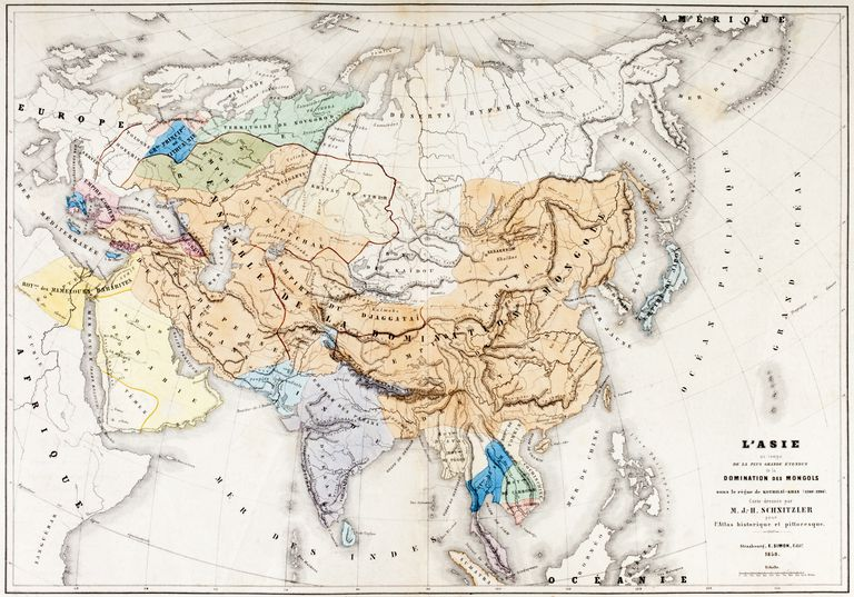 Map of Asia at the time of the greatest extent of the domination of the Mongols in the reign of Kublai Khan. Born 1215, he ruled from 1260 until his death in 1294. From L'Histoire Universelle Ancienne et Moderne, published in Strasbourg circa 1860.