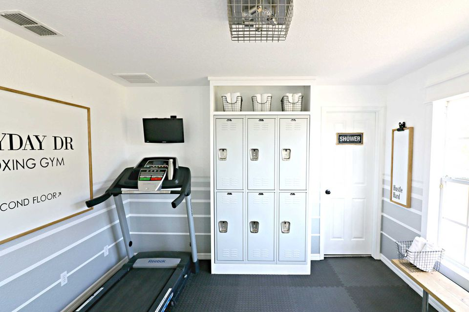 home gym with lockers