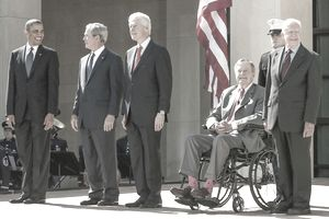 (L-R) President Barack Obama and former Presidents George W. Bush, Bill Clinton, George H.W. Bush and Jimmy Carter attend the opening of the George W. Bush Presidential Center April 25, 2013 in Dallas, Texas.