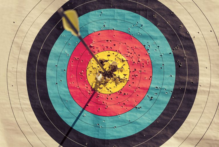Arrow in the bullseye of a target