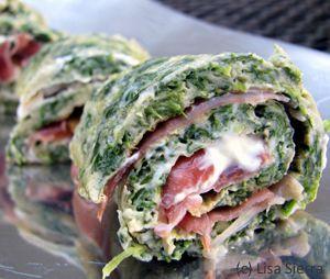 Spinach Tortilla Rolls with Serrano Ham Recipe - Rollitos de Tortilla con Jamon Serrano