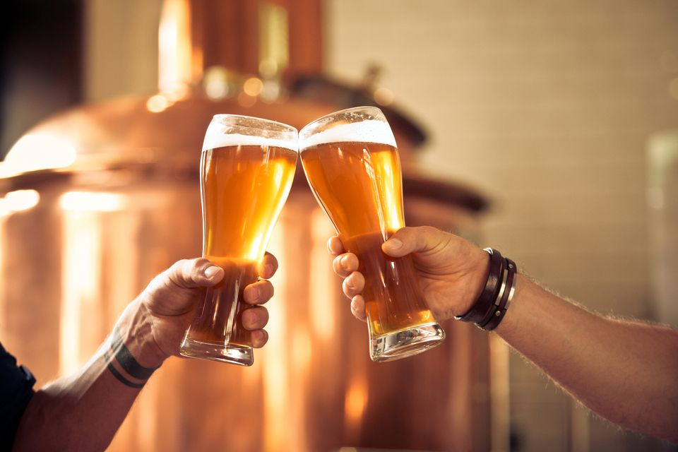 Friends toasting with beer glasses in the microbrewery