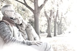 Senior couple relaxing in autumn park