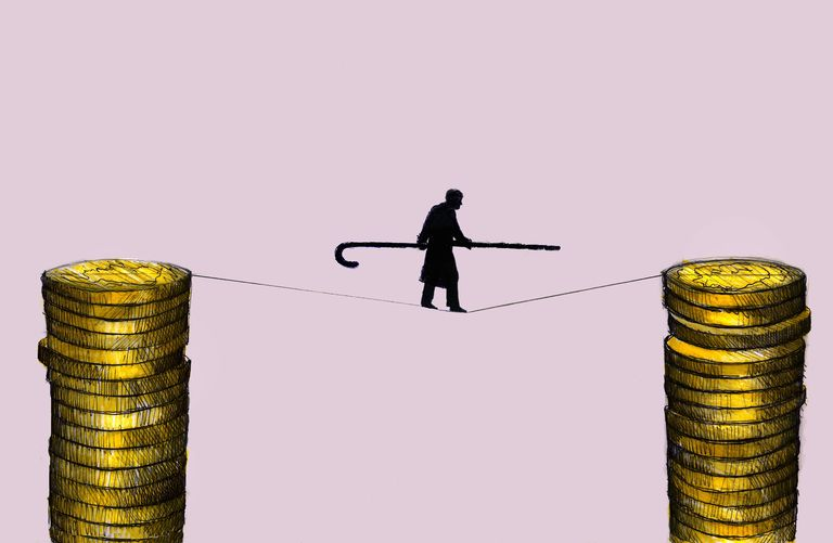 illustration of elderly man walking tightrope between stacks of coins