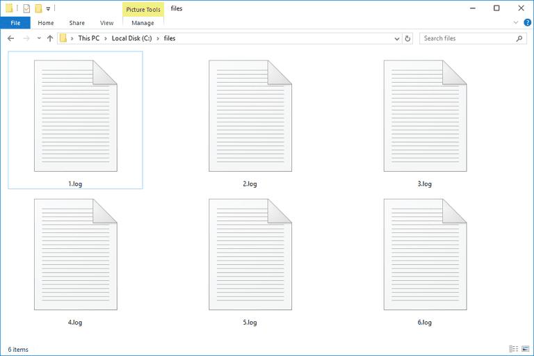 Screenshot of several LOG files in Windows 10