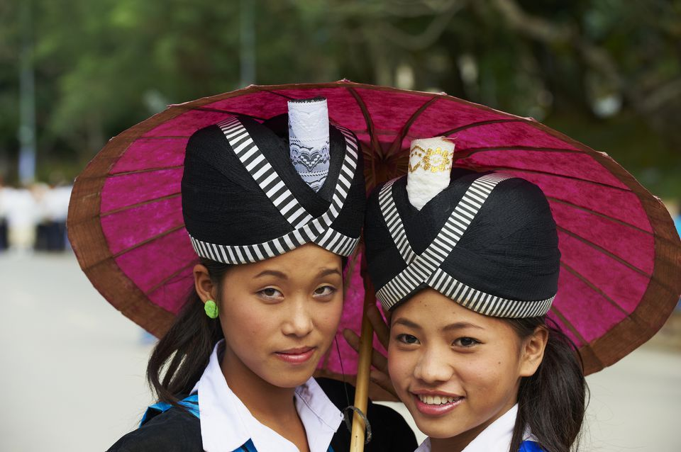 Lao ladies during festival in Luang Prabang, Laos