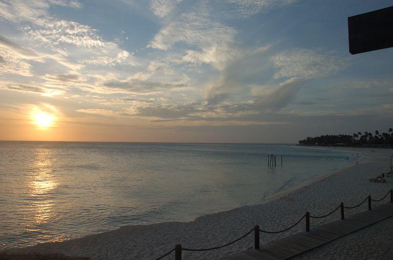Aruba beach at sunset