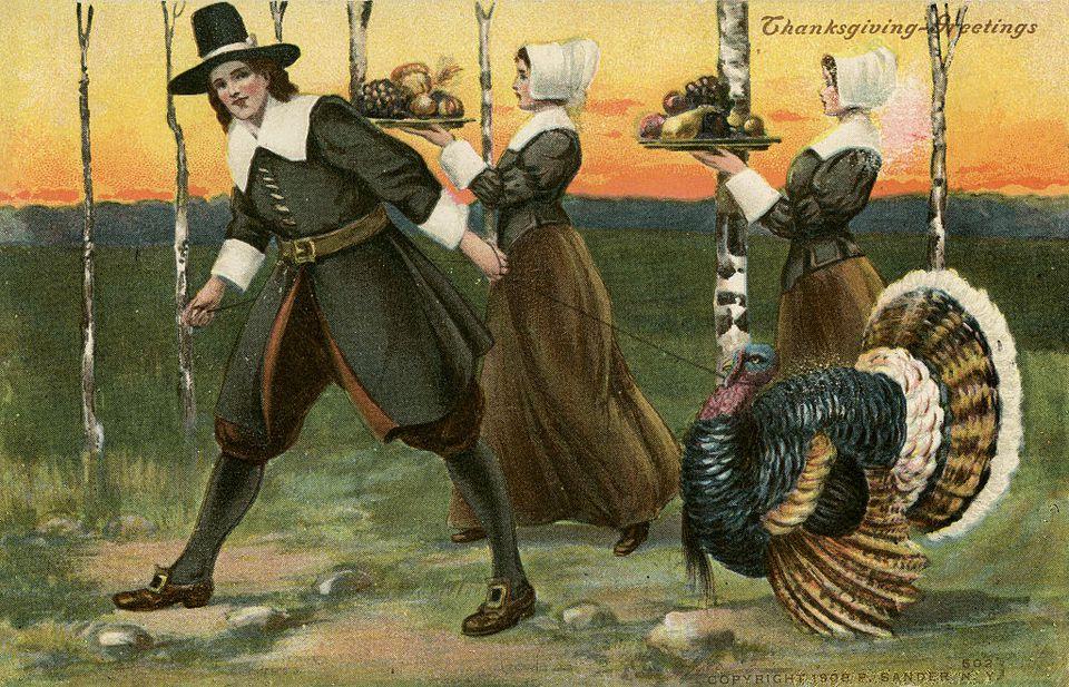 Thanksgiving Pilgrims Historic Postcard