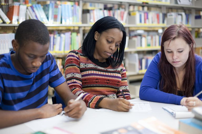 Young people in a college library