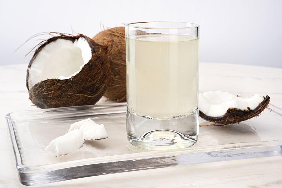 coconut shell and water in glass