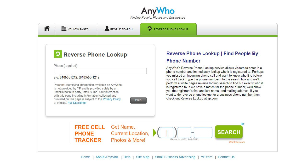 Screenshot of the AnyWho reverse phone number lookup website.