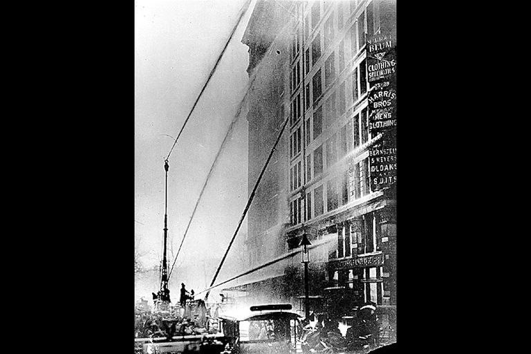 Firefighters putting out the last of the Triangle Shirtwaist Factory Fire.