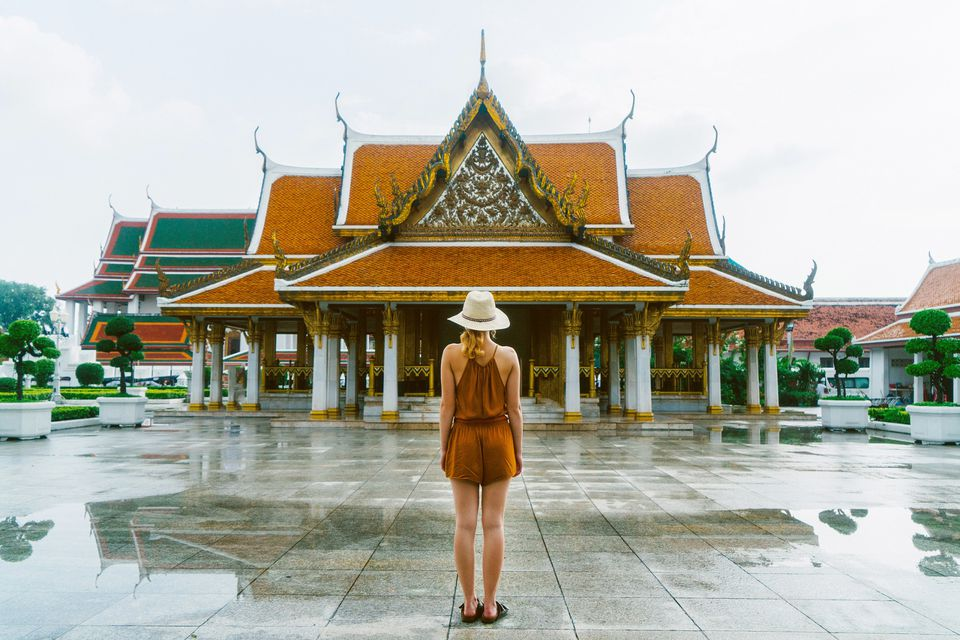 Woman near the Wat Ratchanatdaram in Bangkok