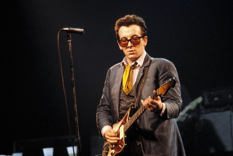 Eclectic singer-songwriter Elvis Costello, performing live at the Palladium (NYC) circa 1981.