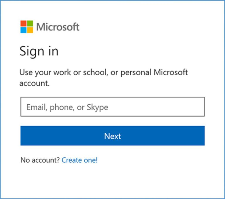 A picture of the Microsoft sign in prompt.