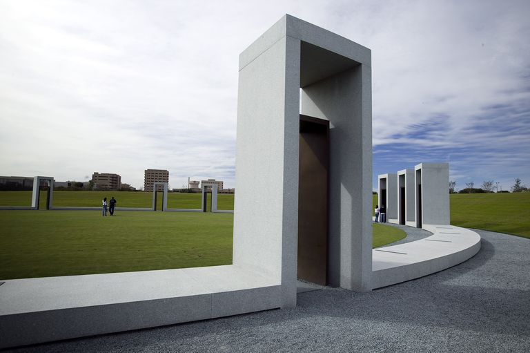 Bonfire Memorial at Texas A & M University is made up of 12 portals, each representing a student who died in the tragic collapse