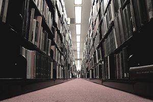 Bookshelves in library