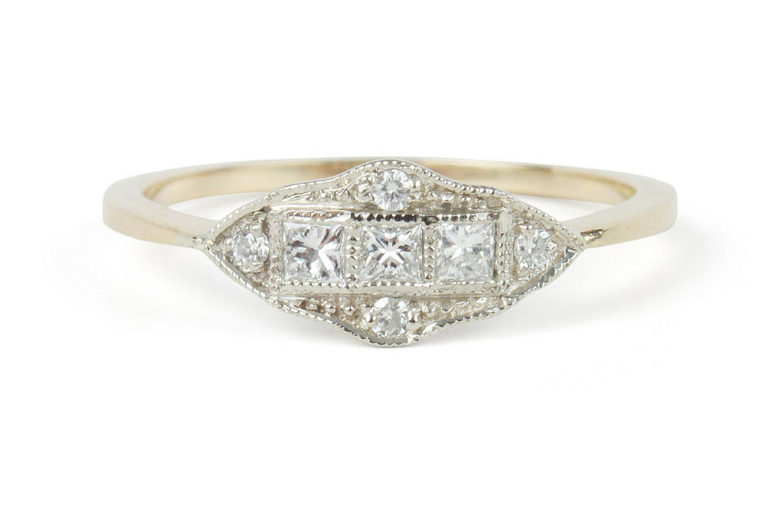 engagement arthur diamond detailed cut detail eternity gold kaplan ring rings milgrain products baguette channel white