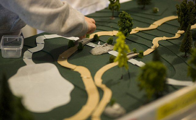 hotograph of a model park created by an elementary school landscape architect.