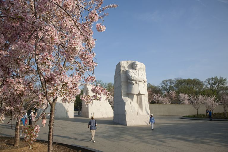 """The Martin Luther King Jr. Memorial -- the """"Stone of Hope"""" is pulled from the rock wall behind it, known as the """"Mountain of Despair"""""""