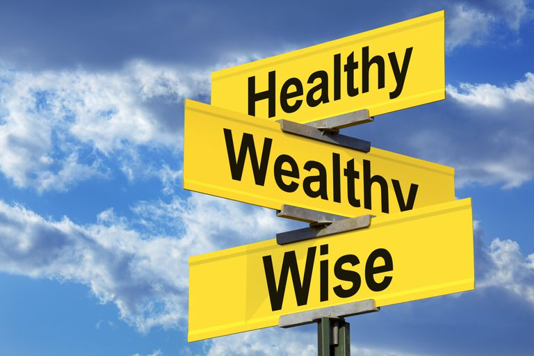 words healthy, wealthy and wise on street sign