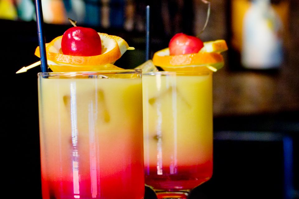Tequila Sunrise with Orange Boat Garnish