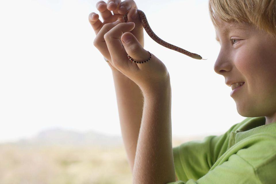 Boy holding snake