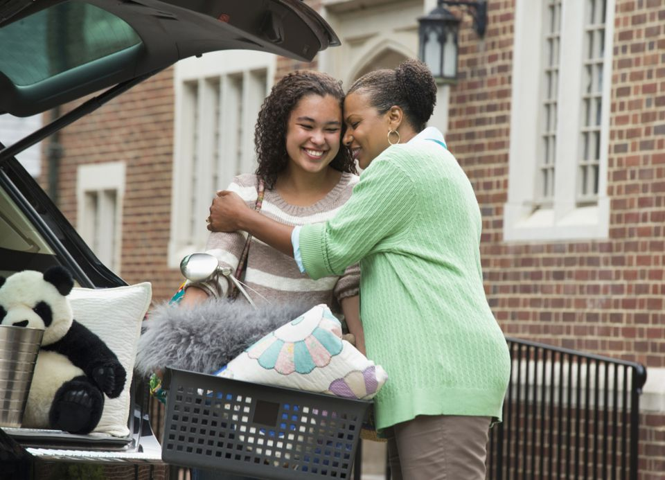 grandmother and granddaughter saying goodbye at college