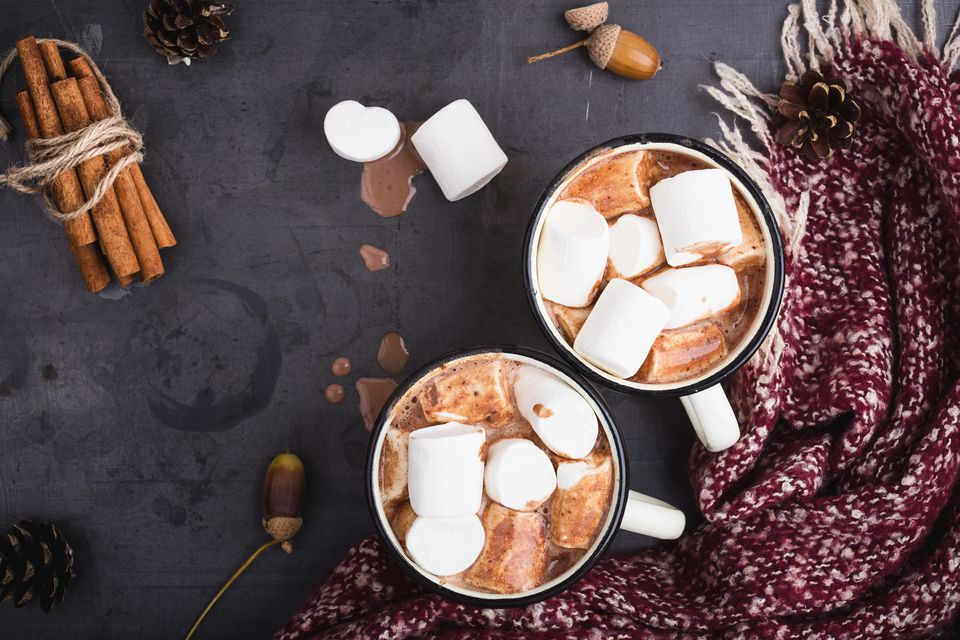 Hot chocolate served in vintage mugs