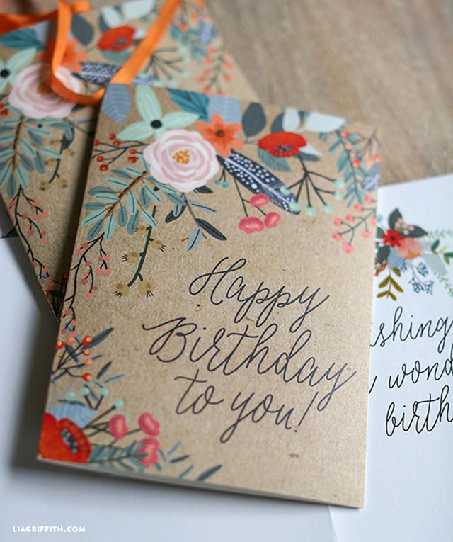 25 of the best diy birthday cards floral printable card bookmarktalkfo Gallery
