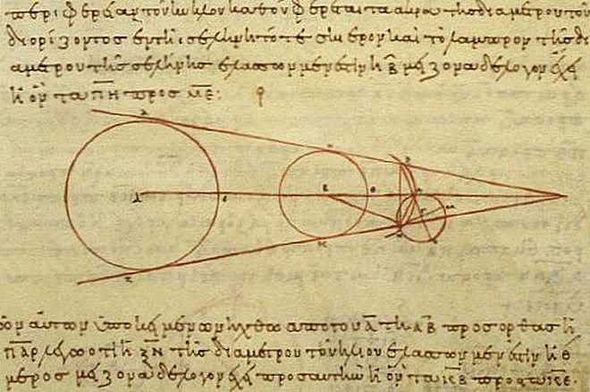 Early calculations of the Sun, Moon, and Earth sizes.