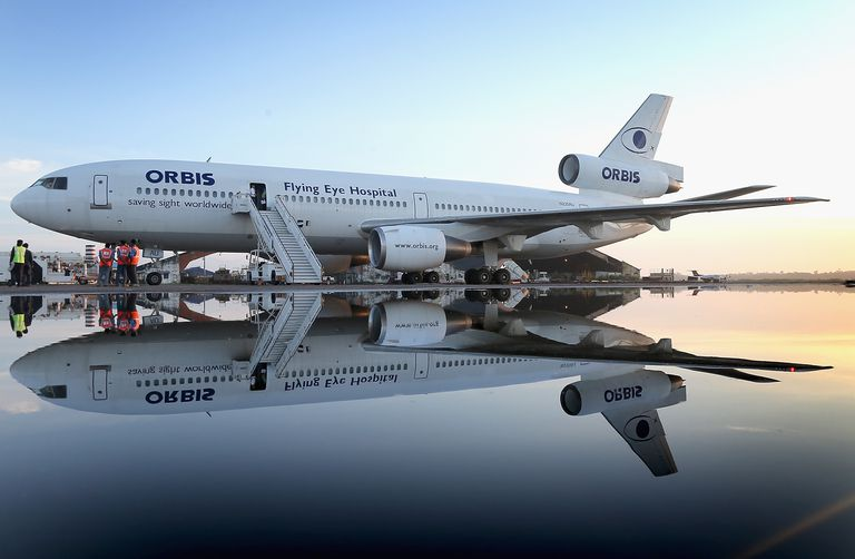 The Orbis flying eye hospital plane sitting on the runway