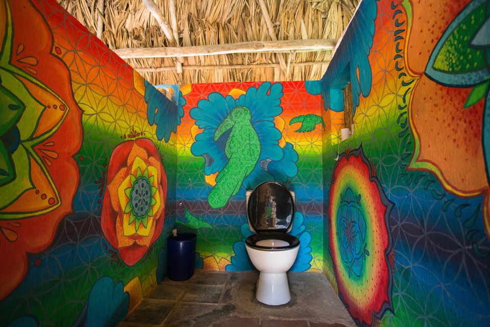 colorful hostel bathroom
