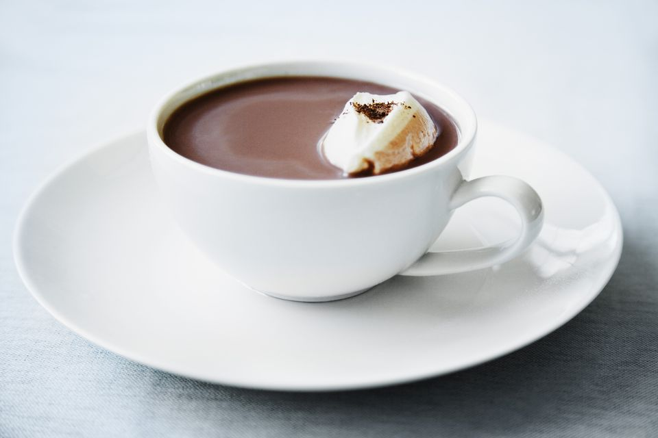 Hot chocolate with whipped cream and chile powder