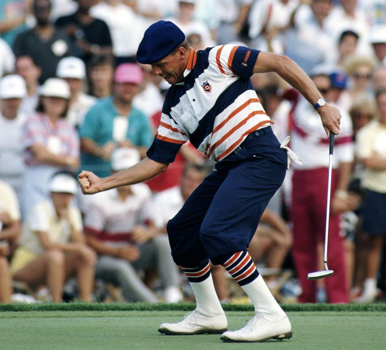 Payne Stewart of the United States celebrates the winning putt on the 18th green to win the 1989 PGA Championship