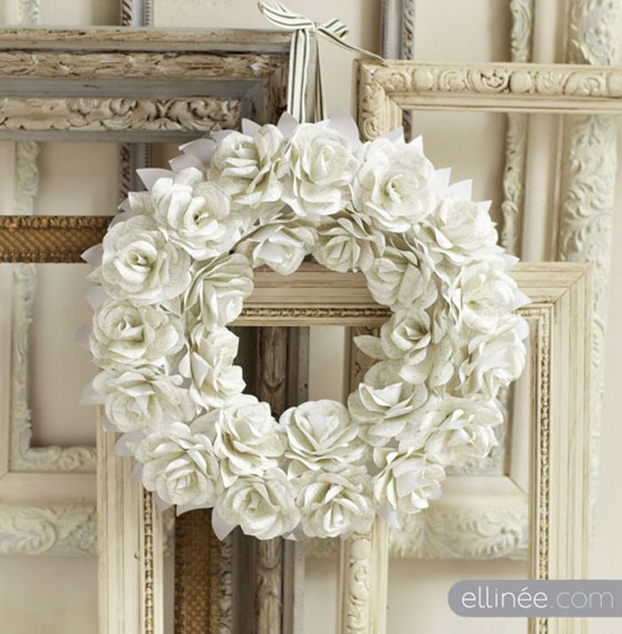 white paper rose wreath