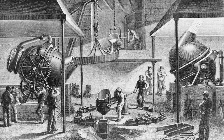 Illustration of the Bessemer steel production process