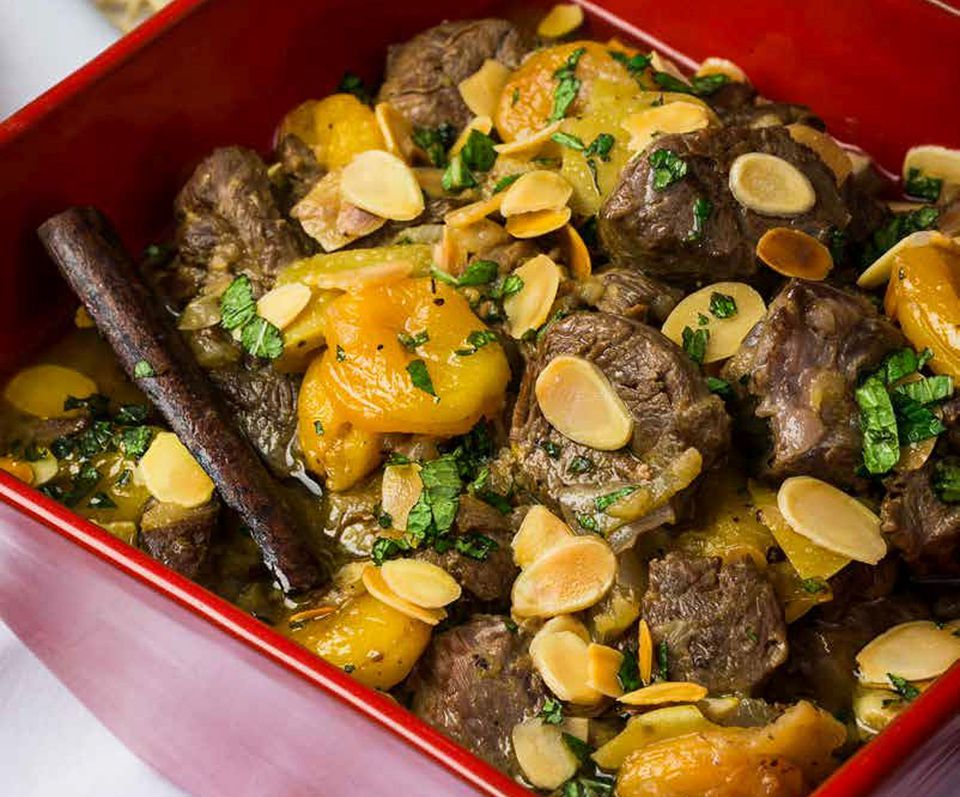 Kosher Lamb Stew with Apricots, Pears and Mint