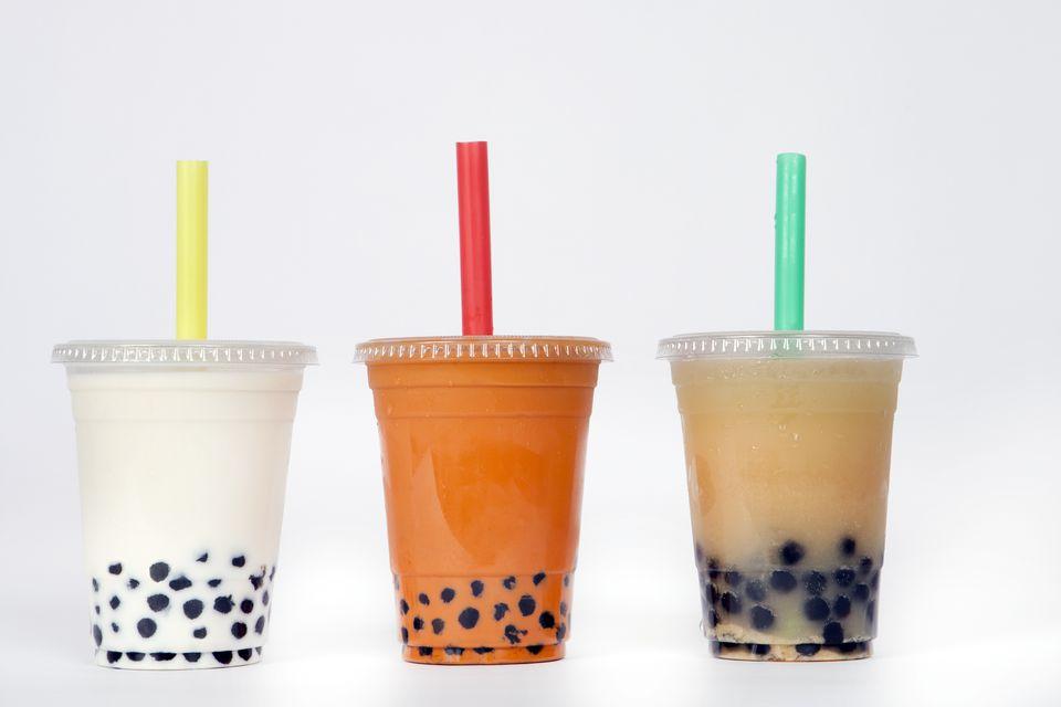 3 Bubble tea flavors in plastic cups