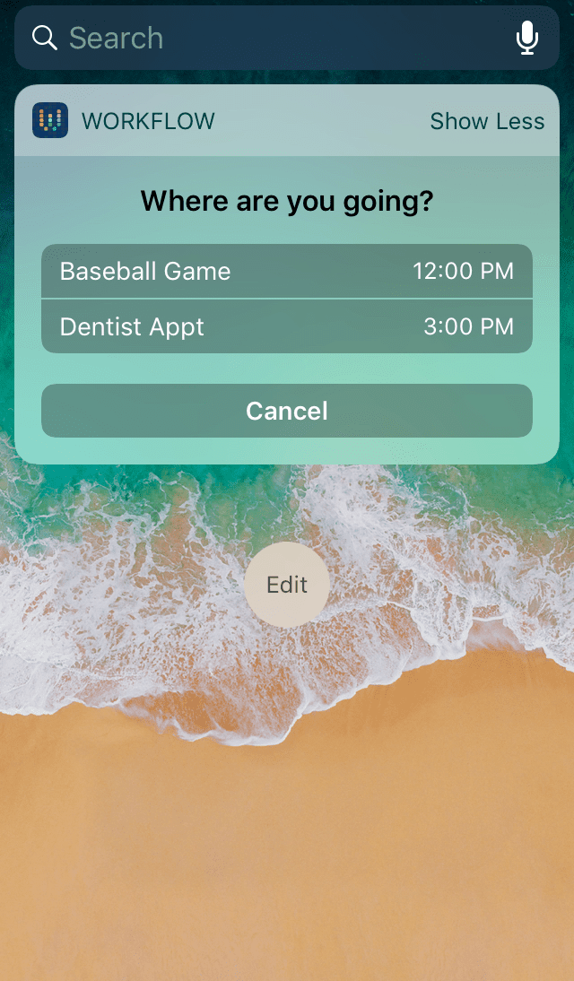 Screenshot of a workflow that shows you directions to your next calendar event